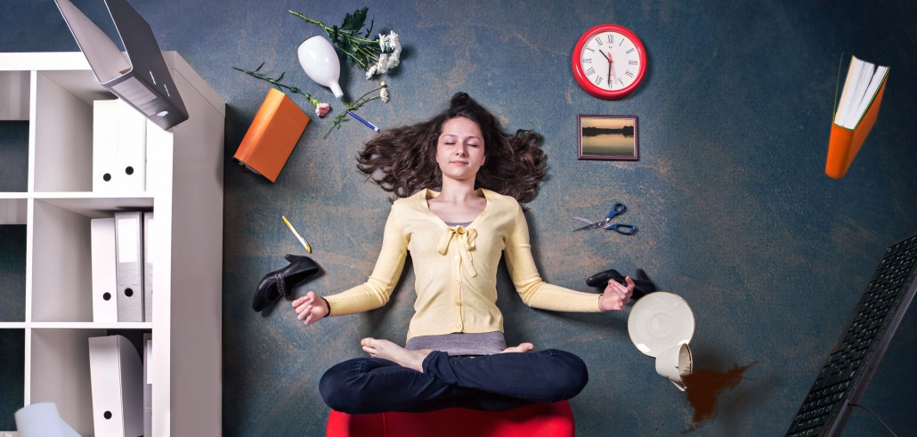 Woman being mindful